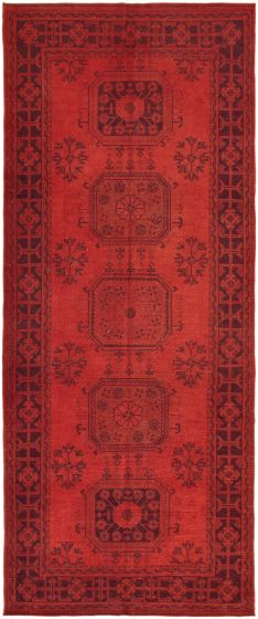 Bordered  Transitional Red Runner rug 11-ft-runner Turkish Hand-knotted 293732