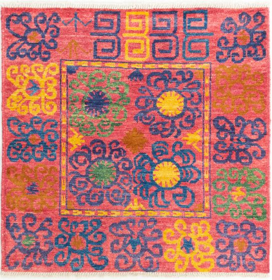 Casual  Transitional Pink Area rug Square Indian Hand-knotted 280700