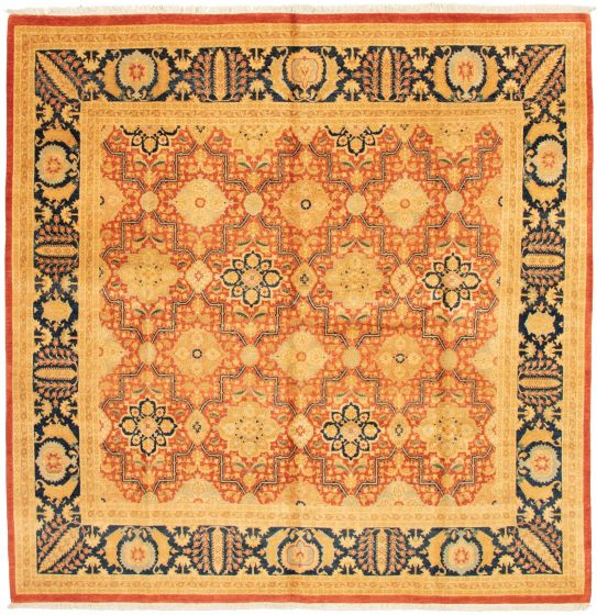 Bordered  Traditional Brown Area rug Square Pakistani Hand-knotted 337629