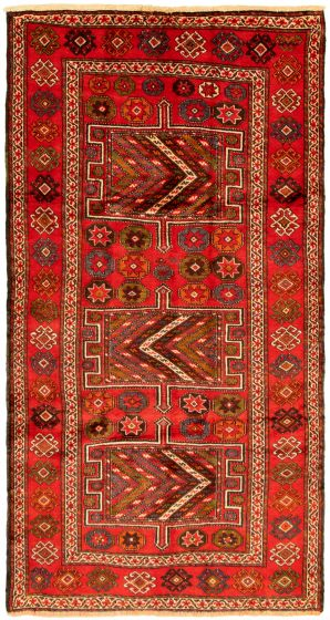 Bordered  Tribal Red Area rug 5x8 Turkish Hand-knotted 322293