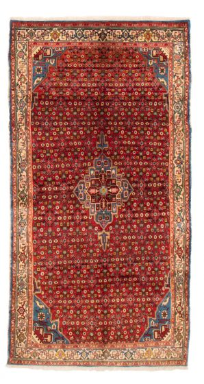 Bordered  Traditional Red Area rug 5x8 Persian Hand-knotted 358662