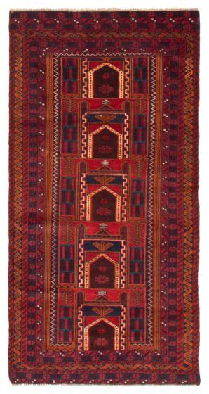 Geometric  Tribal Red Runner rug 6-ft-runner Afghan Hand-knotted 367533