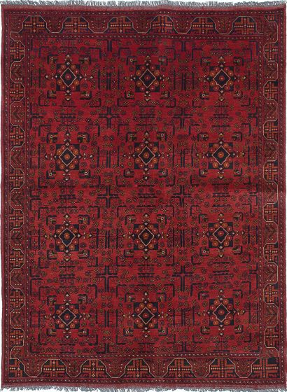 Traditional Red Area rug 5x8 Afghan Hand-knotted 222304