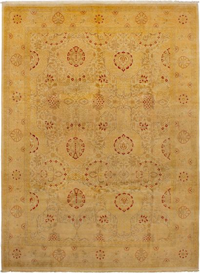 Bordered  Transitional Brown Area rug 9x12 Afghan Hand-knotted 272867
