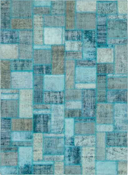 Casual  Transitional Green Area rug 5x8 Turkish Hand-knotted 296078