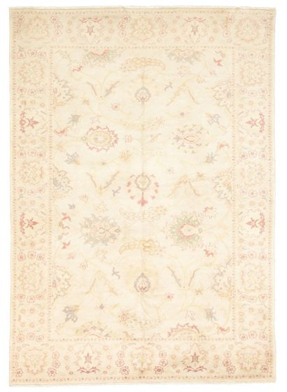 Bordered  Traditional Ivory Area rug 5x8 Turkish Hand-knotted 308564