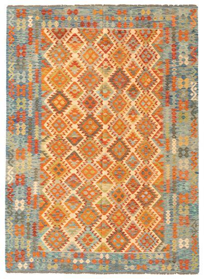 Bordered  Geometric Ivory Area rug 6x9 Turkish Flat-weave 330656
