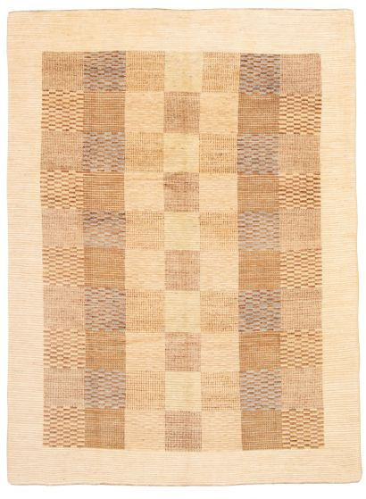 Bordered  Transitional Ivory Area rug 9x12 Pakistani Hand-knotted 331183