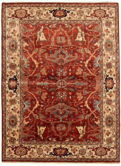 Bordered  Traditional Brown Area rug 9x12 Indian Hand-knotted 331910