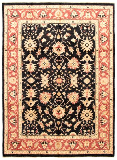 Bordered  Traditional Black Area rug 9x12 Afghan Hand-knotted 336071