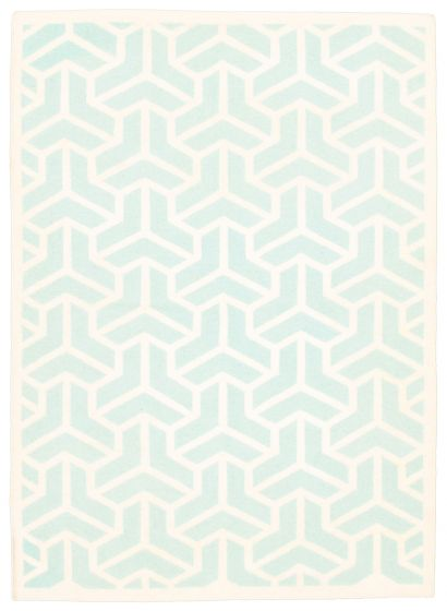 Flat-weaves & Kilims  Transitional Blue Area rug 5x8 Indian Flat-weave 344434