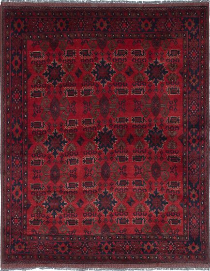 Traditional Red Area rug 5x8 Afghan Hand-knotted 222031