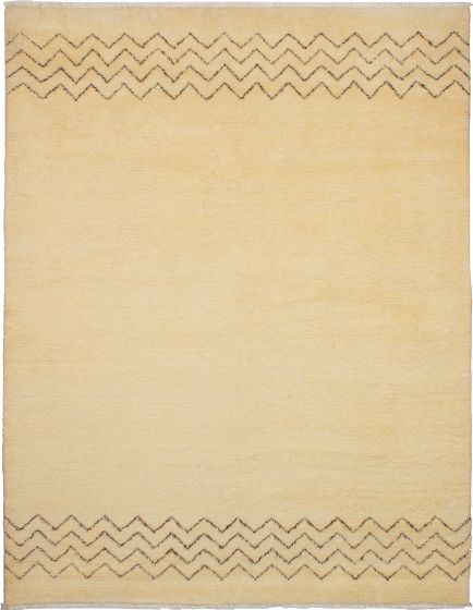 Moroccan  Transitional Ivory Area rug 9x12 Moroccan Hand-knotted 272188
