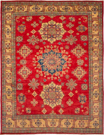Bordered  Traditional Red Area rug 9x12 Afghan Hand-knotted 272452