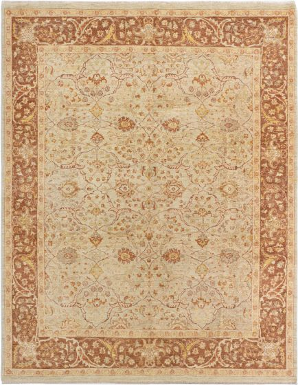 Bordered  Traditional Yellow Area rug 6x9 Afghan Hand-knotted 280570