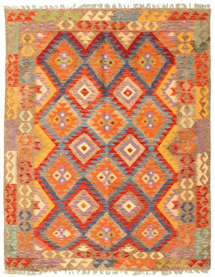Bordered  Geometric Brown Area rug 4x6 Turkish Flat-weave 329979