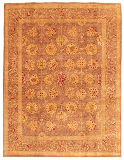 Bordered  Traditional Brown Area rug 6x9 Pakistani Hand-knotted 331294