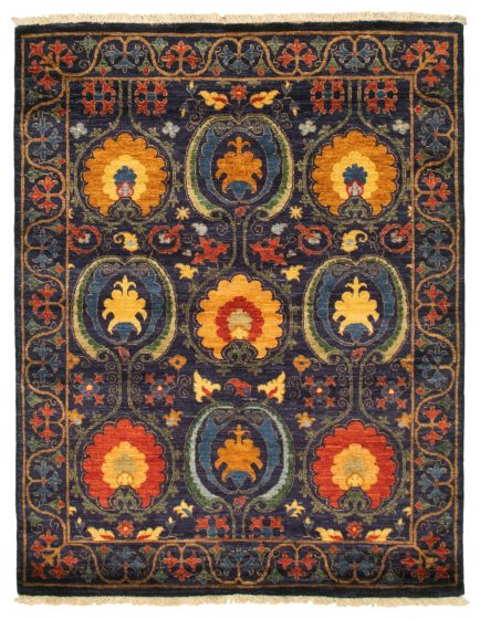 Bordered  Transitional Blue Area rug 3x5 Pakistani Hand-knotted 342163