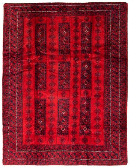 Bordered  Tribal Red Area rug 6x9 Afghan Hand-knotted 342363