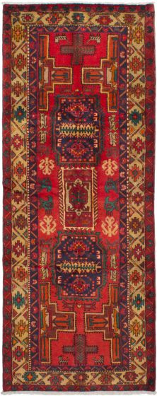 Bordered  Traditional Red Runner rug 10-ft-runner Persian Hand-knotted 264295