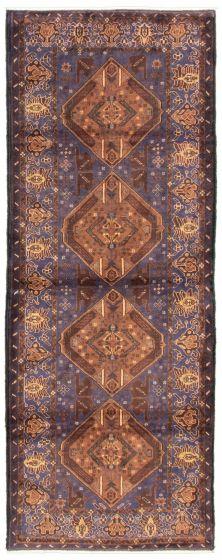 Bordered  Tribal Blue Runner rug 9-ft-runner Afghan Hand-knotted 342431