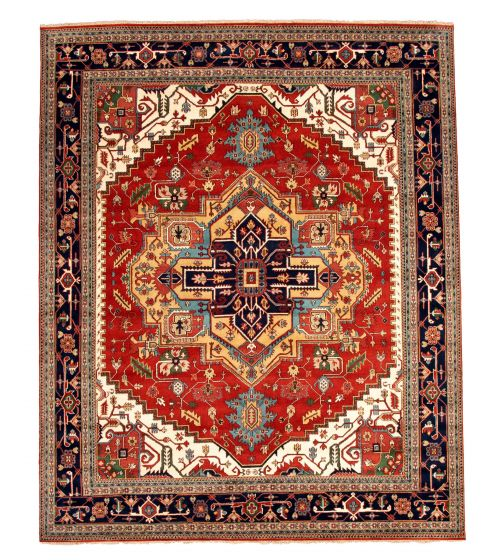 Bordered  Traditional Brown Area rug 12x15 Indian Hand-knotted 345134