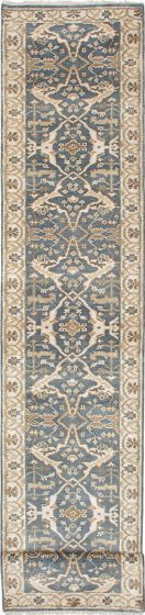 Traditional Green Runner rug 20-ft-runner Indian Hand-knotted 223647