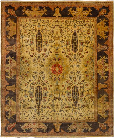 Bordered  Transitional Ivory Area rug 6x9 Indian Hand-knotted 272341