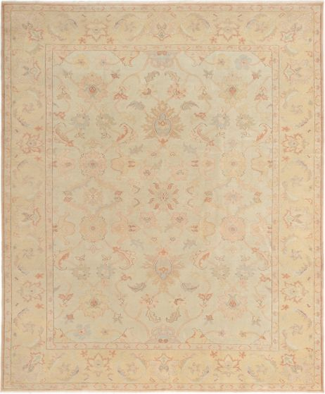 Bordered  Traditional Yellow Area rug 6x9 Turkish Hand-knotted 280772
