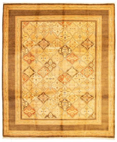 Bordered  Traditional Ivory Area rug 6x9 Pakistani Hand-knotted 331290