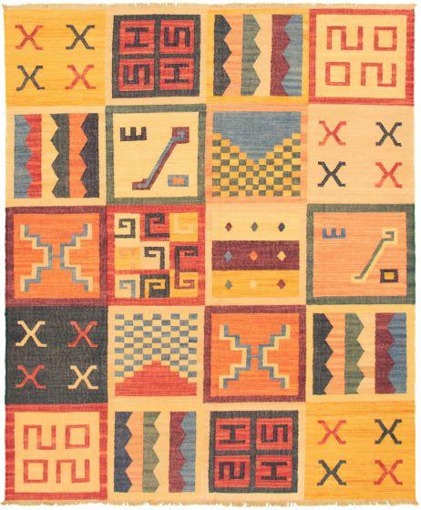 Casual  Transitional Orange Area rug 6x9 Turkish Flat-weave 336014