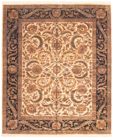 Bordered  Traditional Ivory Area rug 12x15 Indian Hand-knotted 339188