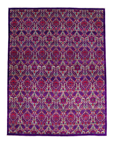 Casual  Transitional Purple Area rug 12x15 Pakistani Hand-knotted 345151