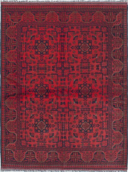 Traditional Red Area rug 4x6 Afghan Hand-knotted 192013