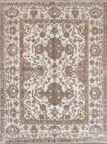 Traditional Ivory Area rug 9x12 Indian Hand-knotted 222687