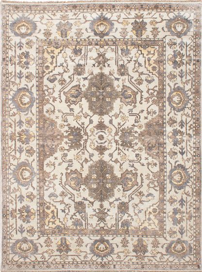 Traditional Ivory Area rug 9x12 Indian Hand-knotted 222708