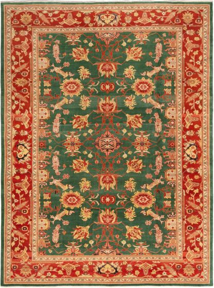 Bordered  Traditional Green Area rug 9x12 Turkish Hand-knotted 280834