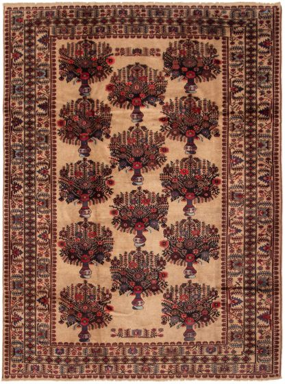 Bordered  Tribal Brown Area rug 6x9 Afghan Hand-knotted 298071