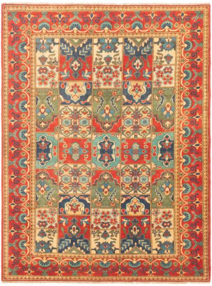 Bordered  Traditional Brown Area rug 4x6 Afghan Hand-knotted 305819