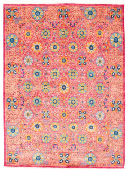 Bordered  Transitional Pink Area rug 6x9 Pakistani Hand-knotted 311054