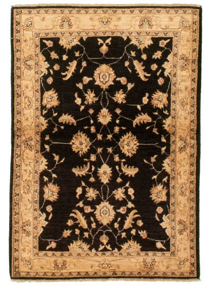 Bordered  Traditional Black Area rug 3x5 Afghan Hand-knotted 331245