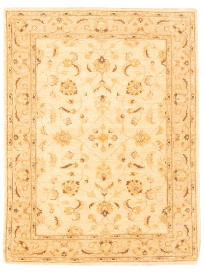 Bordered  Traditional Ivory Area rug 4x6 Afghan Hand-knotted 331590
