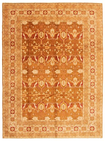 Bordered  Traditional Brown Area rug 10x14 Afghan Hand-knotted 338430