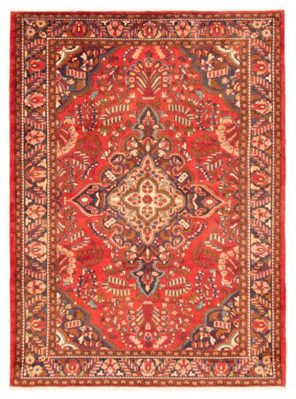 Bordered  Traditional Red Area rug 6x9 Persian Hand-knotted 366596