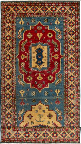 Bordered  Geometric Blue Runner rug 20-ft-runner Afghan Hand-knotted 272646