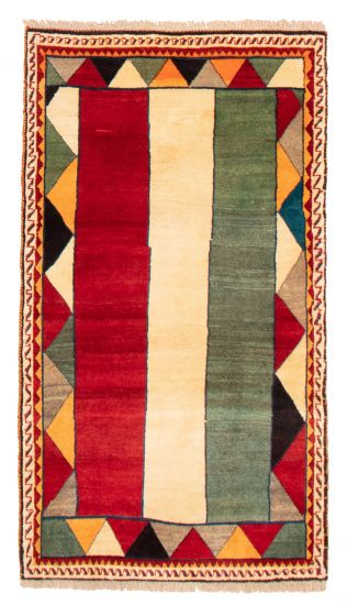 Bordered  Tribal Red Area rug 3x5 Persian Hand-knotted 358656