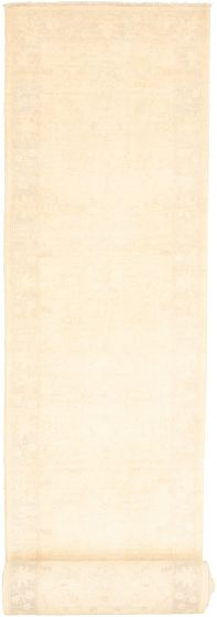 Bordered  Traditional Ivory Runner rug 26-ft-runner Pakistani Hand-knotted 319920