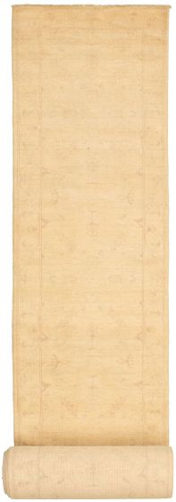 Bordered  Traditional Ivory Runner rug 37-ft-runner Pakistani Hand-knotted 319972
