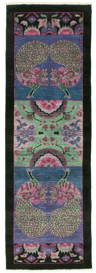 Traditional  Transitional Blue Runner rug 8-ft-runner Pakistani Hand-knotted 342123