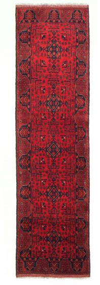 Bordered  Traditional Red Runner rug 10-ft-runner Afghan Hand-knotted 342294